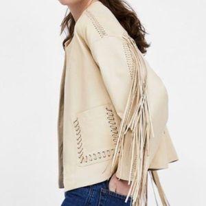 NWT Zara Leather Fringe Jacket 😍😍